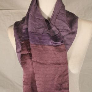 Accessories - Heavy purple silk scarf with fringe, 11x60